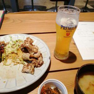 tawaraの豚の生姜焼き定食と生ビール