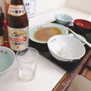 北海の肉野菜炒めとビールを完食